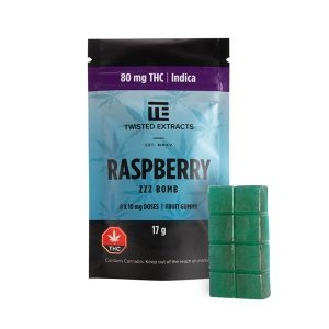 Twisted Extracts Raspberry THC infused Gummies Indica